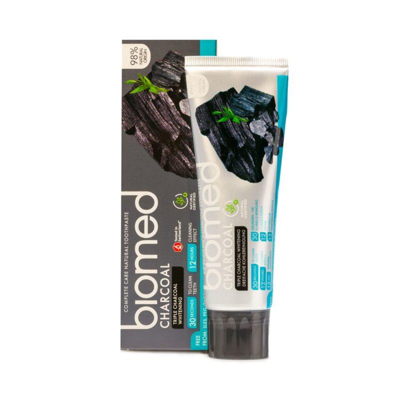 Biomed Zubní pasta pro posílení zubní skloviny Charcoal s přírodním černým uhlím