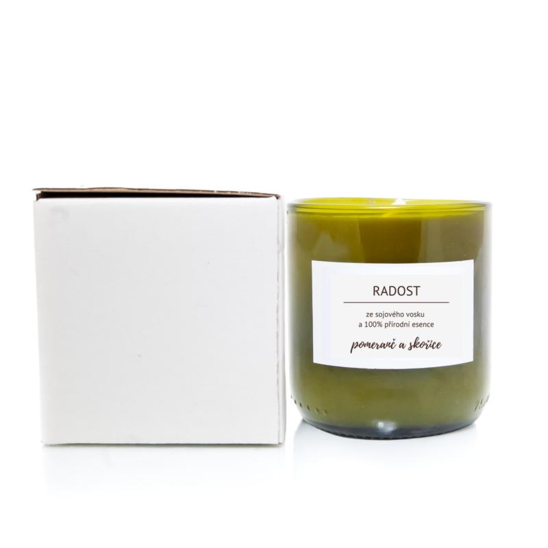 Bioplace Vonná svíčka ze sójového vosku Pomeranč & Skořice - RADOST